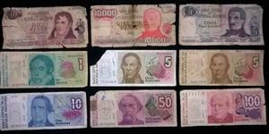 Billetes Argentinos Antiguos - Mal Estado - $2 Cada Uno.