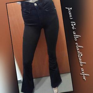 Jeans tiró alto elastizado Oxford