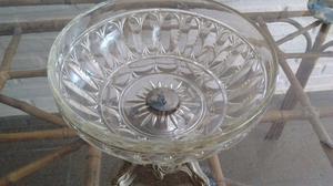 Frutera, centro de mesa antiguo, tallado Cristal De Bohemia
