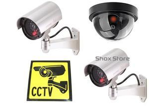 Sistema De Vigilancia X 3 Camaras De Seguridad Falsas + Led