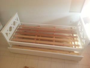 cama carrito de pino blanco
