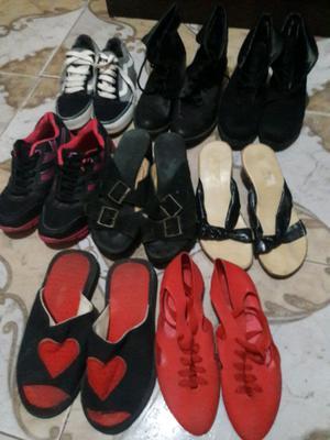 Lote de botas y zapatillas de mujer talles 38.