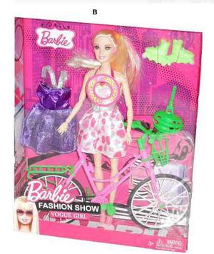 Muñeca Barbie Articulada 30cm Bicicleta Y Rollers Sonido