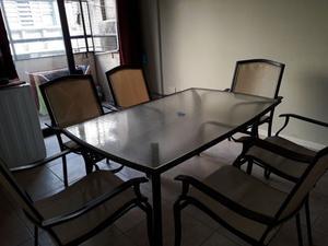 Juego de jardin mesa de vidrio + 6 sillas