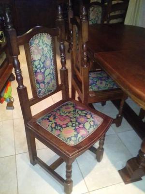 6 sillas de algarrobo tapizadas madervent