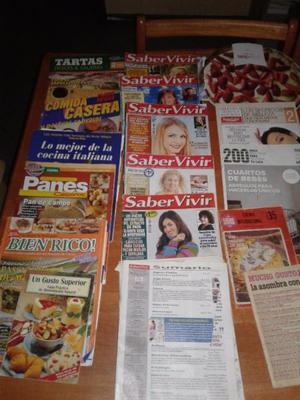 revistas y libro de cocina
