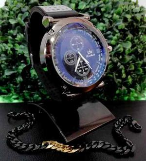 Reloj De Hombres + Pulsera Combo Ideal Para Regalar Revel6