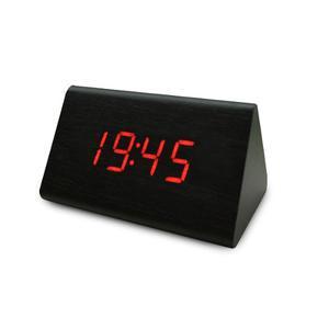 Reloj Despertador Alarma Digital Triangulo Madera Luz Led