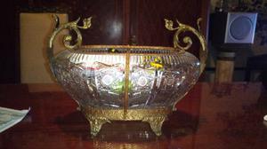 Antiguo centro de mesa de cristal y bronce francés
