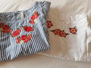 Camisas talle M y S con voladitos y bordados de flores