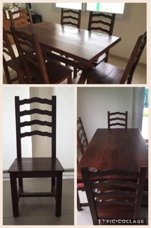 Mesa de madera y seis sillas algarrobo