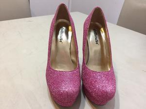 Zapato de fiesta gliter importado N•36 impecables