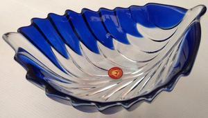 Centro de mesa cristal azulado Walther Glas Importado aleman