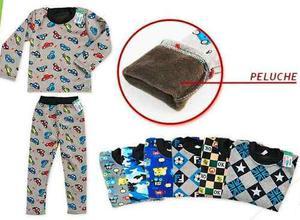 Pijama Niños Térmicos De Plush Con Abrigo De Peluche