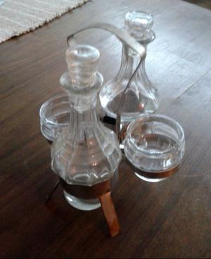 Aceitera y Vinagrera de vidrio Vintage Retro con soporte