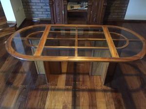 Mesa de madera y vidrios, diseño Línea