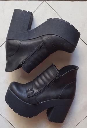 Zapatos Botas Botineta Con Taco Y Plataforma