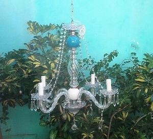 Araña Colgante De 4 Brazos C/lámparas Vela