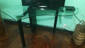 Escritorio de vidrio o mesa de tv con luz