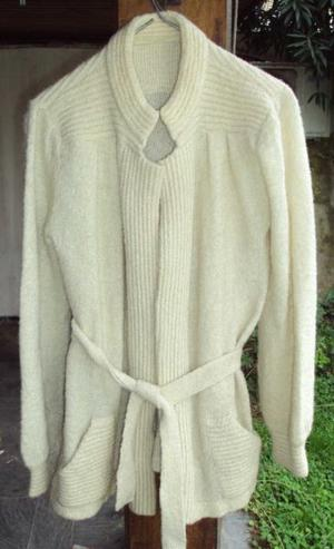 Saco largo sweater cardigan pura lana tejida - mujer talle ca26845a0dce