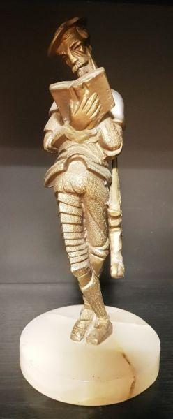 Figura antiguedad adorno Don Quijote De Bronce con Base de