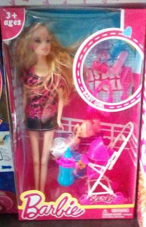 Muñeca Barbie Carrito Bebe + Accesorios + Bebe - Envios!!