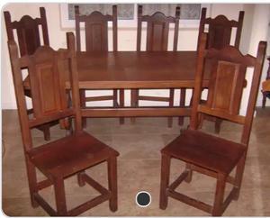 mesa de algarrobo y 6 sillas