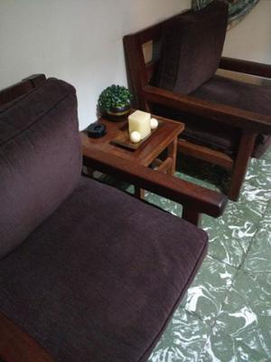 Juego de sillones y mesita(algarrobo)