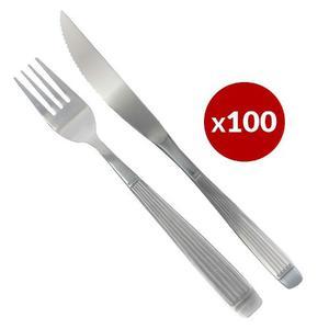 Set X 100 Cubiertos Tenedor Cuchillo Acero Inoxidable Rayado