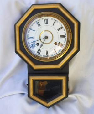 Antiguo Reloj De Pared Con Péndulo Llave Ansonia Tx