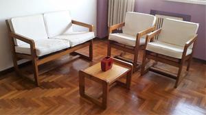 Juego de living de madera con almohadones - Excelente