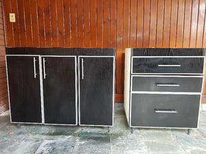 Mueble Bajo Mesada Para Cocina + Cajonera De Melamina Negra