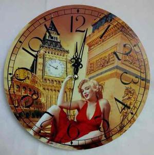 Reloj De Pared Diseño Retro Vintage Shabby Chic 29 Cm