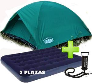 Carpa Iglu Para 4 Personas Camping Colcho Inflador Cobertor