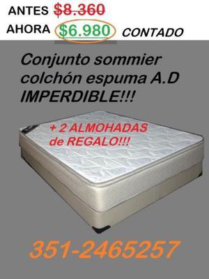 CONJUNTO SOMMIER COLCHÓN ESPUMA ALTA DENSIDAD 2 1/2 PLAZAS