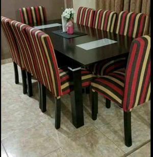 Mesa extendible 1.40 a 1.60 con 6 sillas Tapizado Chenille