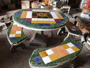 Mesa y bancos de material para jard n posot class - Material para jardin ...