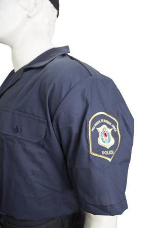 Camisa Policia Tela Batista Azul Talle 30 Al 54