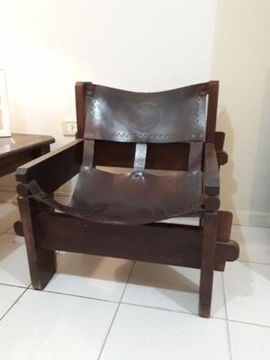 Vendo 2 sillones de algarrobo y cuero