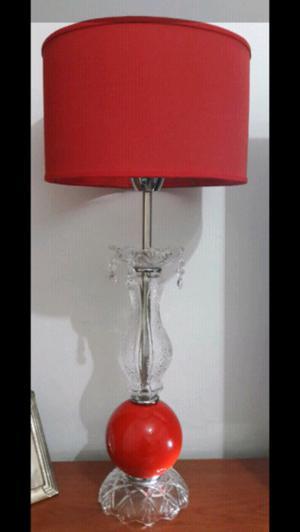 Lámpara o velador con esfera de cerámica y botellon