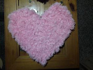 Alfombra corazón d pompones d lana