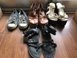 Lote de zapatos 37 (sandalias, chatitas y zapatillas)