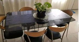 Mesa de Vidrio Fume y 6 sillas base cromadas