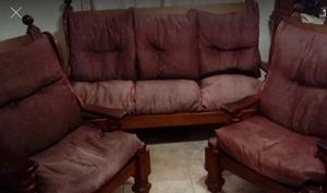 juego de living sillones de algarrobo