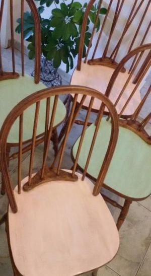 Juego 4 sillas windsor antiguas shabby vintage madera roble