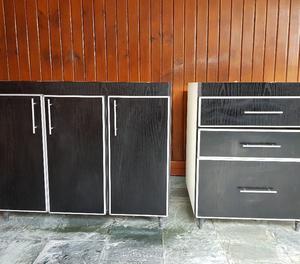 Mueble Bajo mesada para Cocina y Cajonera de melamina negra