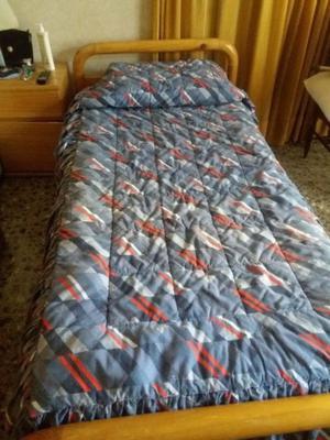 cama plaza y media madera pino con colchón