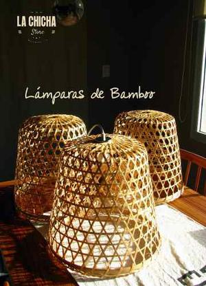 Lampara De Techo De Bambu, Mimbre. Importada De Vietnam