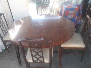mesa redonda completa con 4 sillas