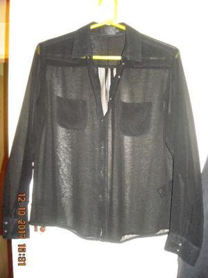 Camisa Ay Not Dead T:m Negra M/larga De Tul,belleza!LIQUIDO